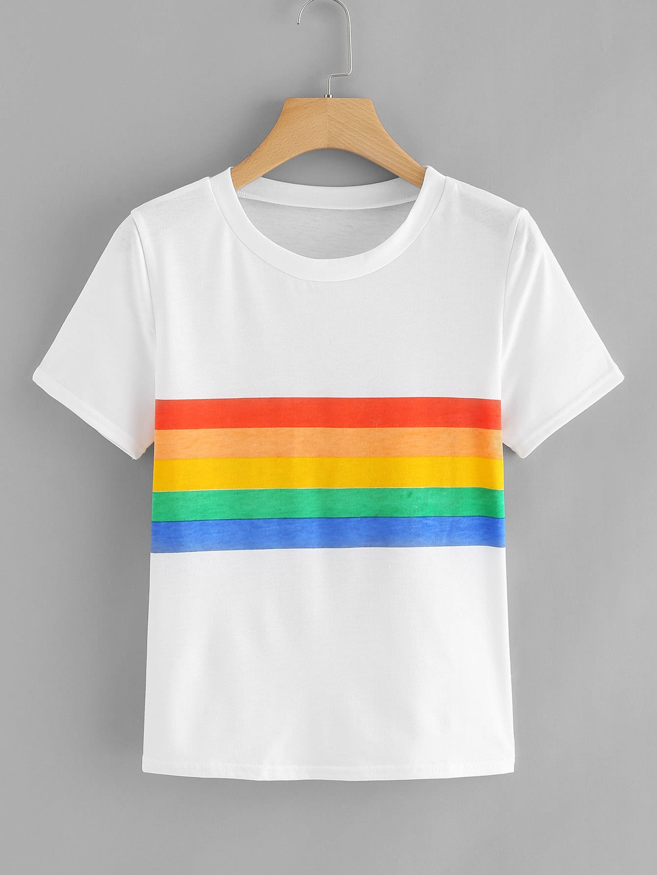 Contrast Rainbow Striped Tee men rainbow striped tee