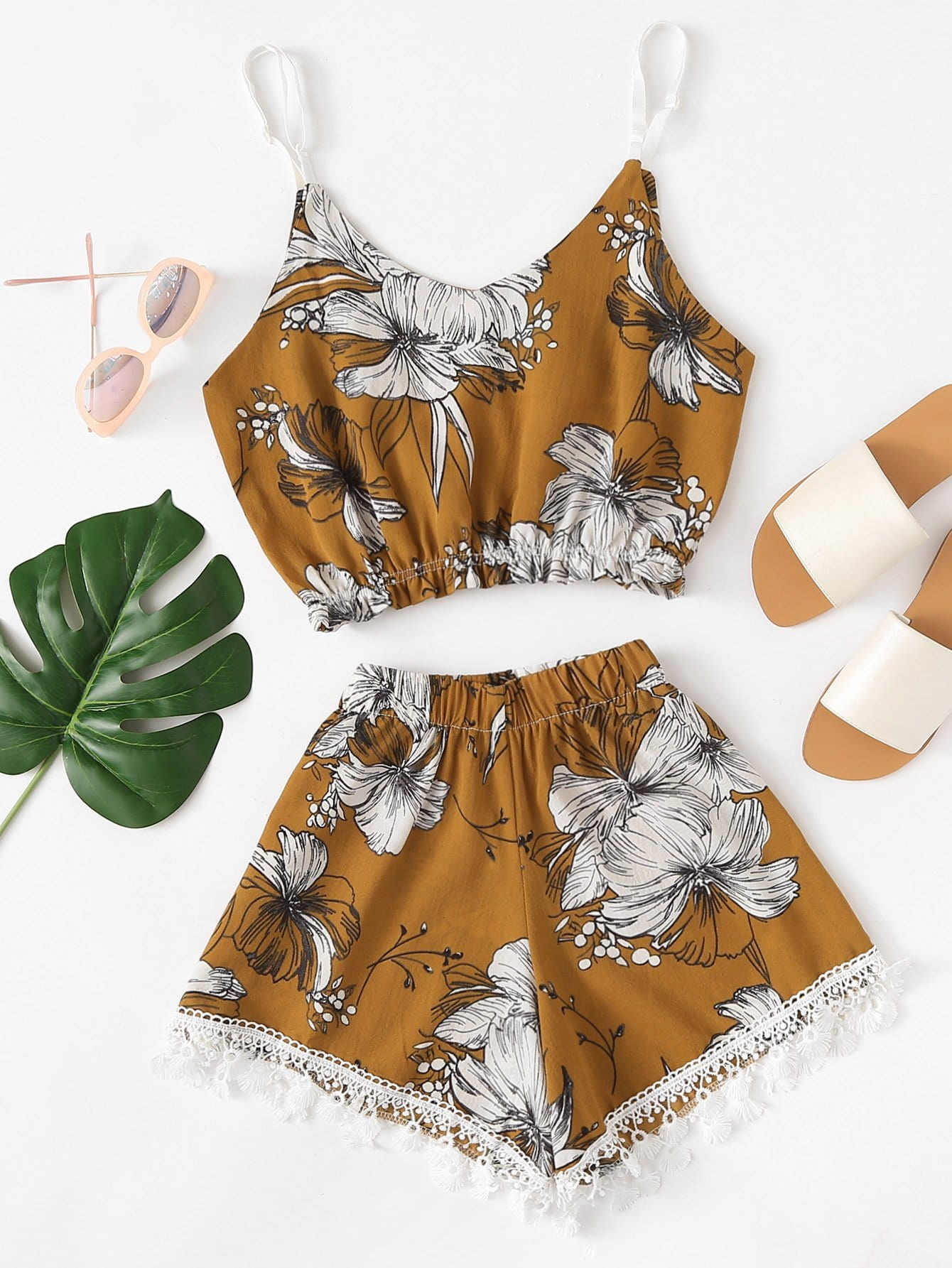 Floral Print Crop Cami Top With Shorts floral print crop top with shorts