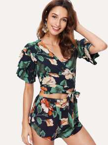 Self Tie Tropical Print Wrap Top With Shorts