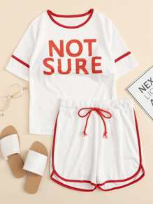 Contrast Trim Letter Print Top With Shorts