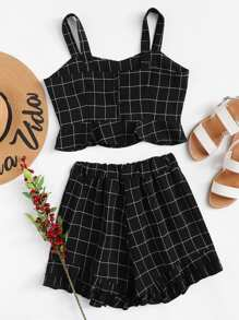 Checked Crop Cami With Shorts