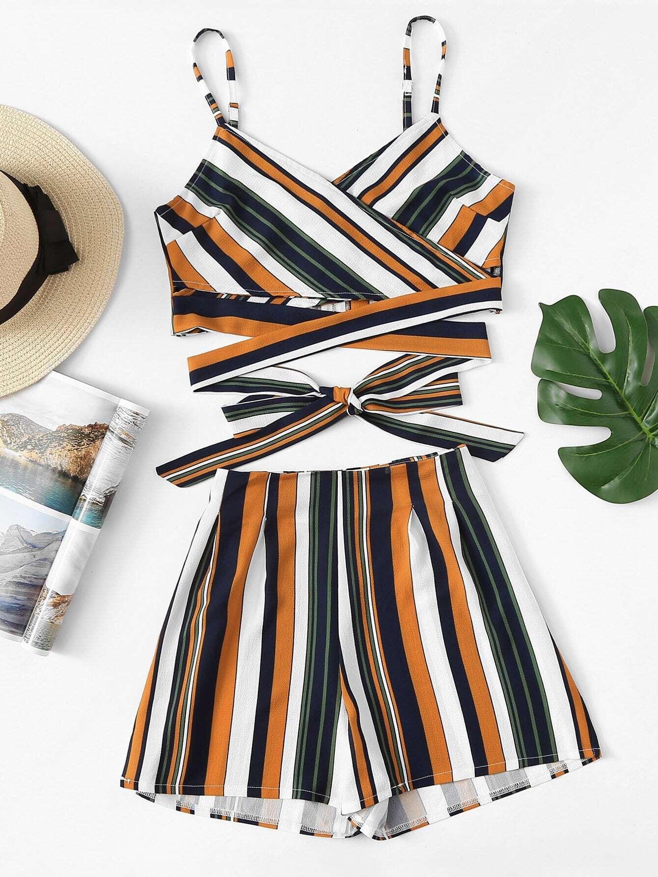 Купить Striped Cross Cami Top с шортами, null, SheIn
