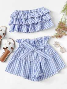 Checked Tiered Tube Top With Ruffle Waist Shorts