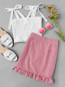 Knot Shoulder Pleated Top With Skirt