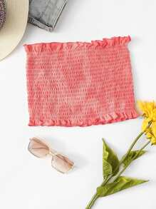Frill Trim Pleated Tube Top