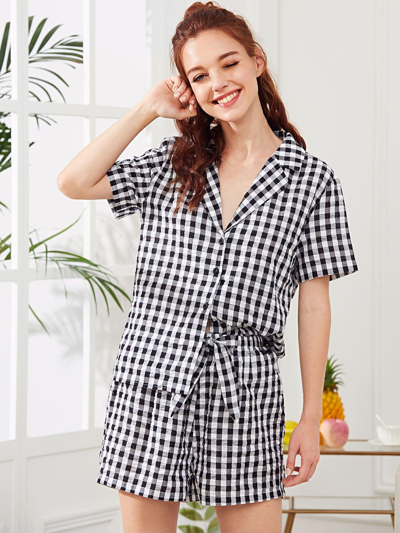 Купить Комплект пижамы рубашка в клетку и шорты, Poly, SheIn