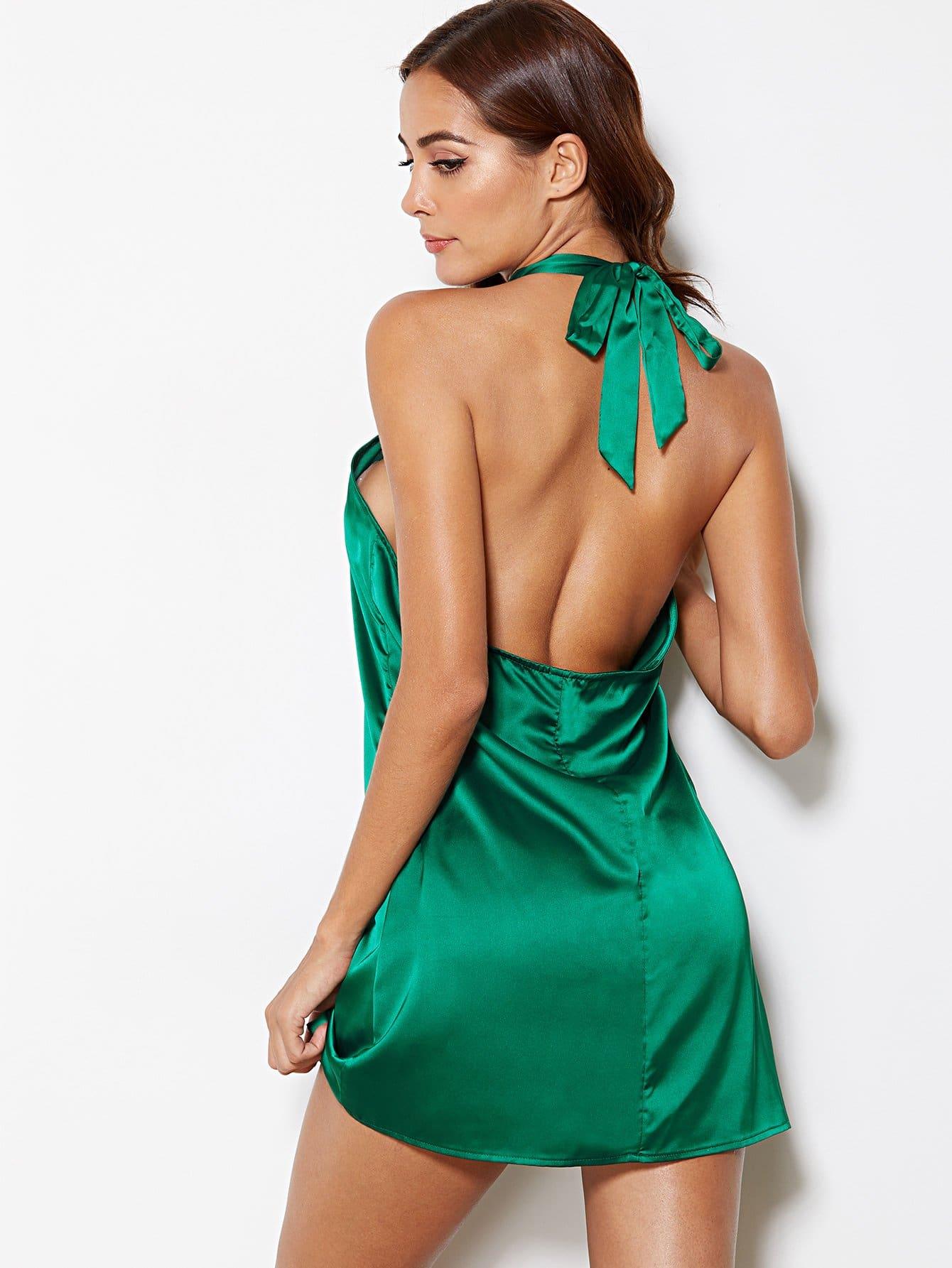Open Back Knot Halter Dress backless knot back halter dress