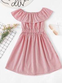 Ruffle Layered Open Back Striped Dress