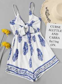 Leaves Print Knot Back Cami Romper