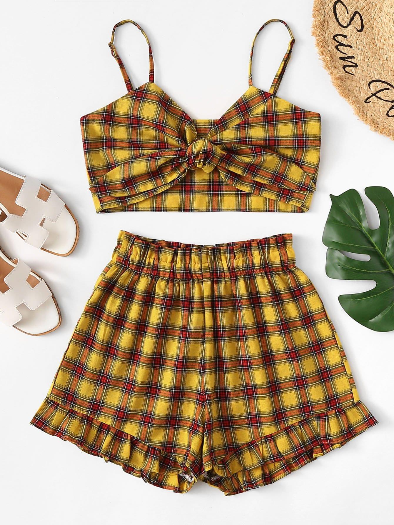 Tartan Plaid Knot Crop Cami Top With Shorts