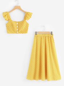 Spot Crop Ruffle Top With Skirt