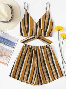 Multi-Stripe Tie Back Top With Shorts