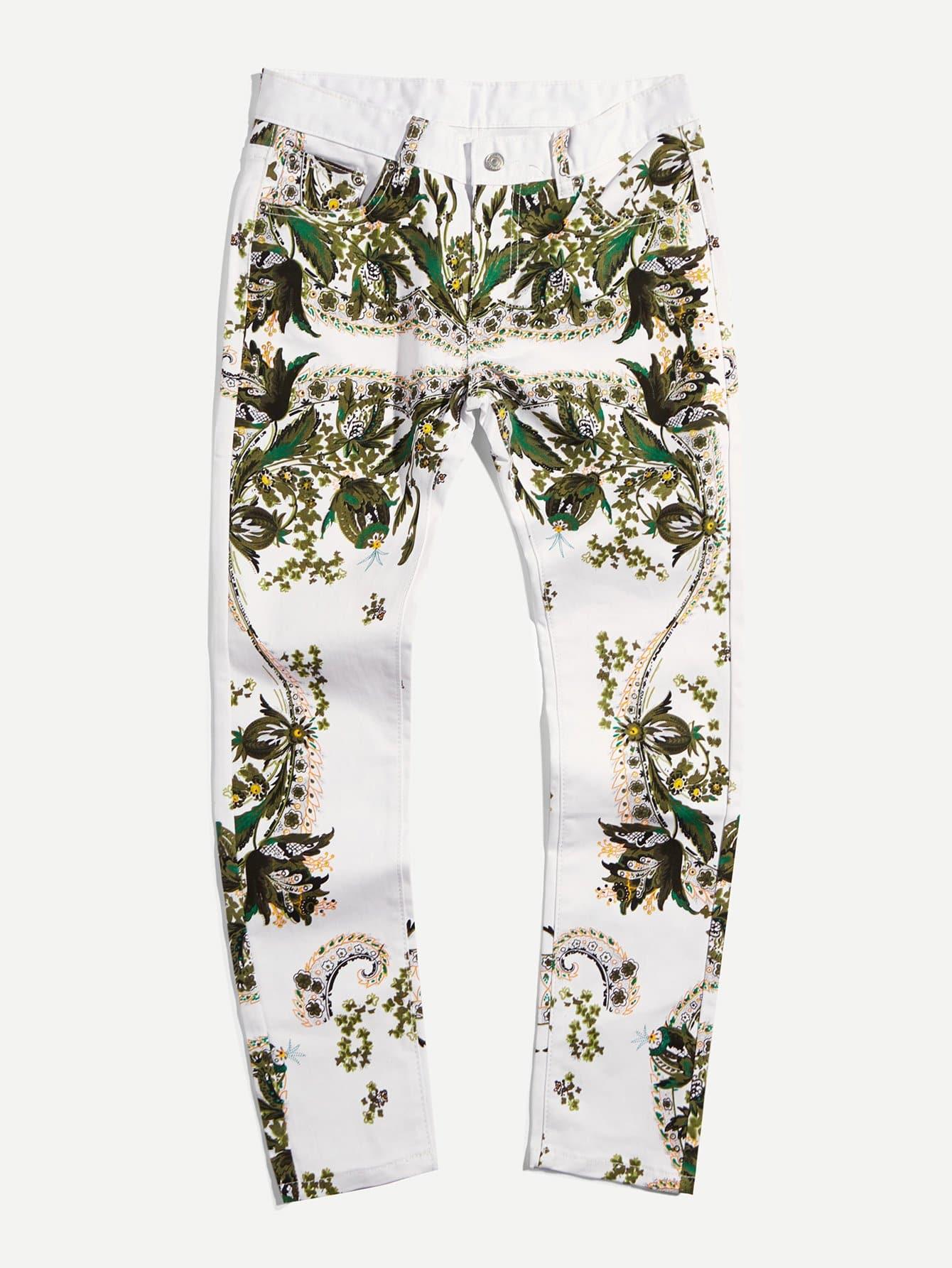 Купить Мужские графические стрейч-джинсы, null, SheIn
