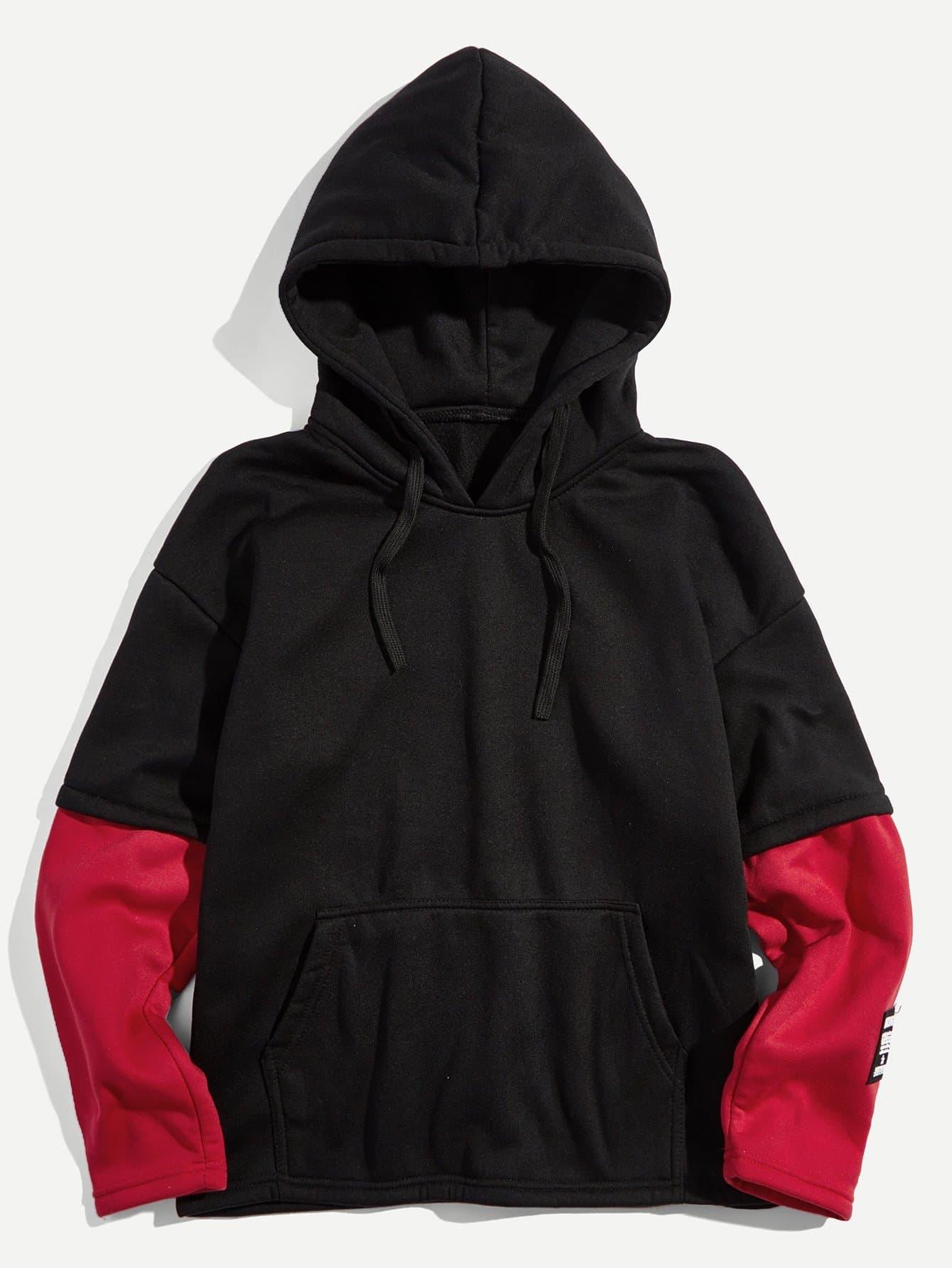 Mann 2 In 1 Hoodie Sweatshirt mit Farbblock