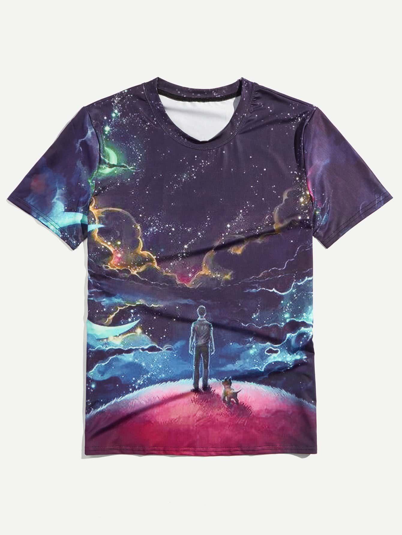 Men Galaxy Print Tee men scratches print tee