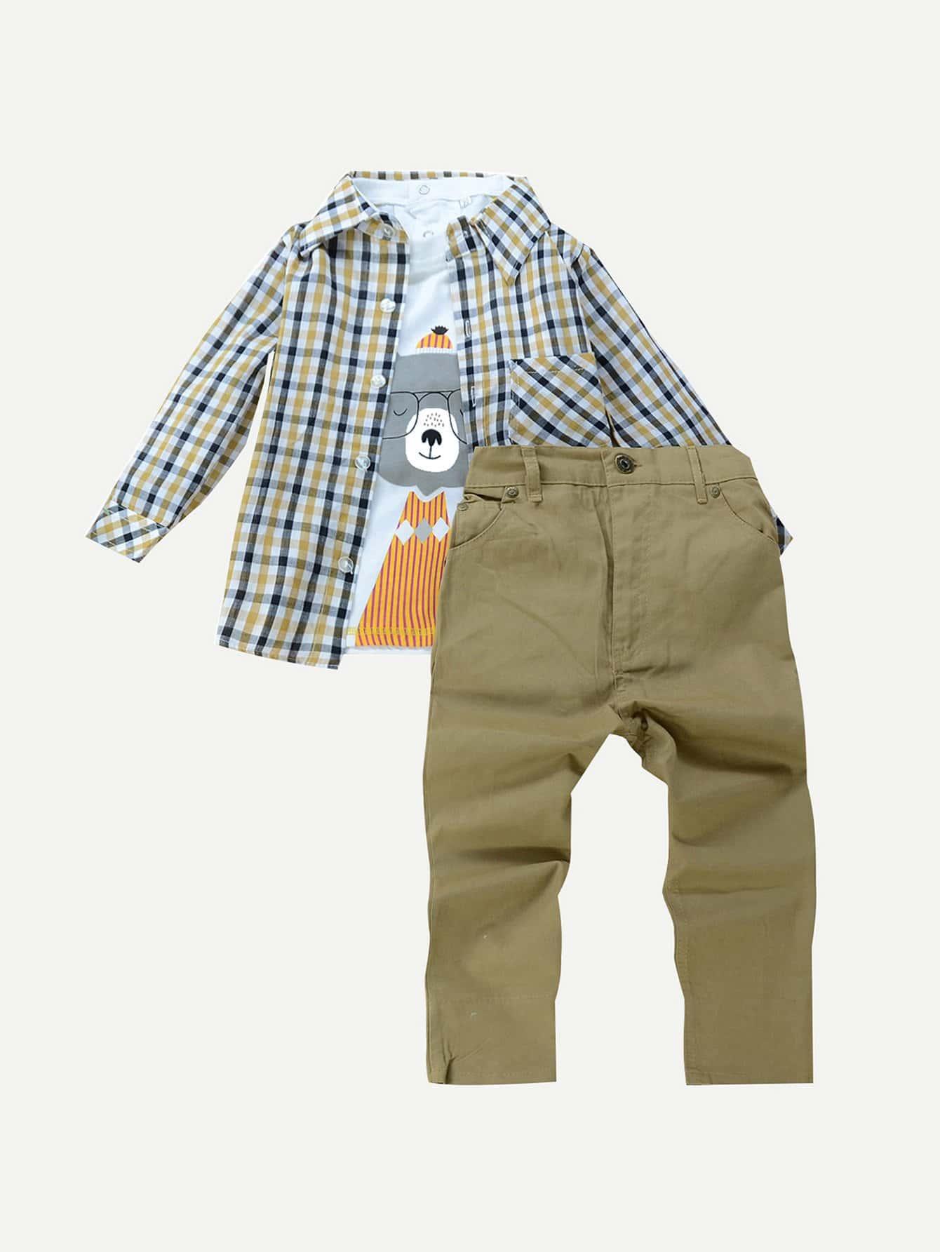 Мальчиков 3шт мультфильм футболка & футболка & брюки