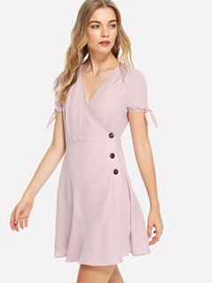 Knot Cuff Surplice Wrap Dress