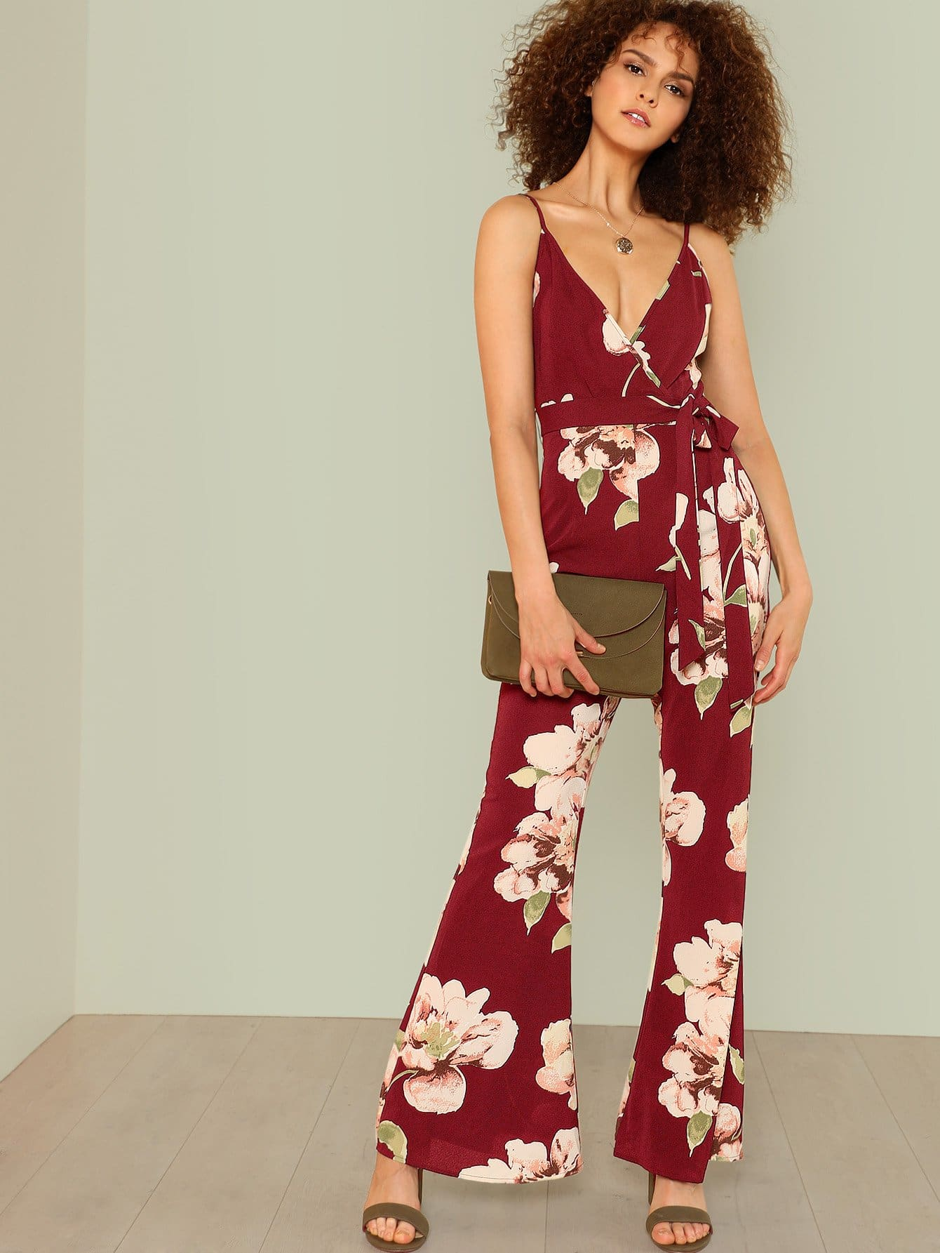 Flower Print Flare Hem Wrap Jumpsuit flamingo print wrap jumpsuit