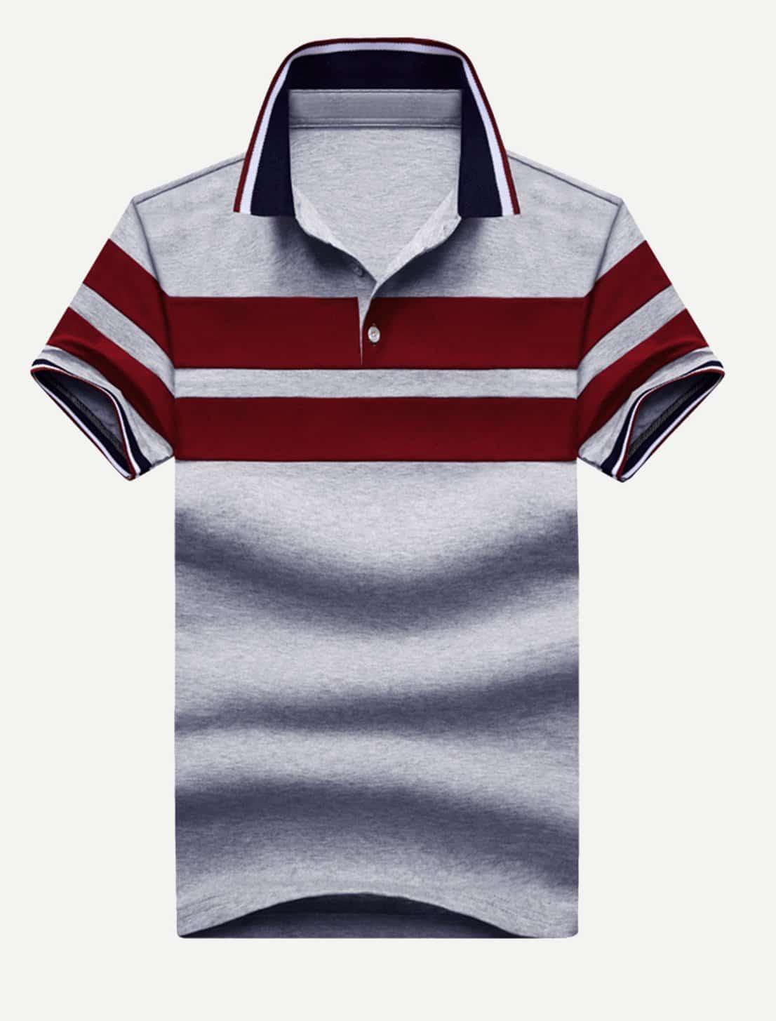 Men Varsity Striped Striped Polo Shirt men striped neck polo shirt