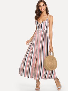 Button Front Split Stripe Cami Dress