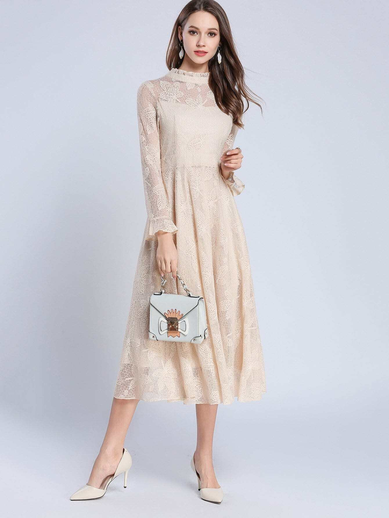 Ruffle Cuff Mock Neck Lace Dress