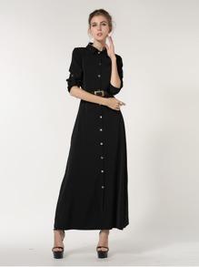Button Front Longline Shirt Dress