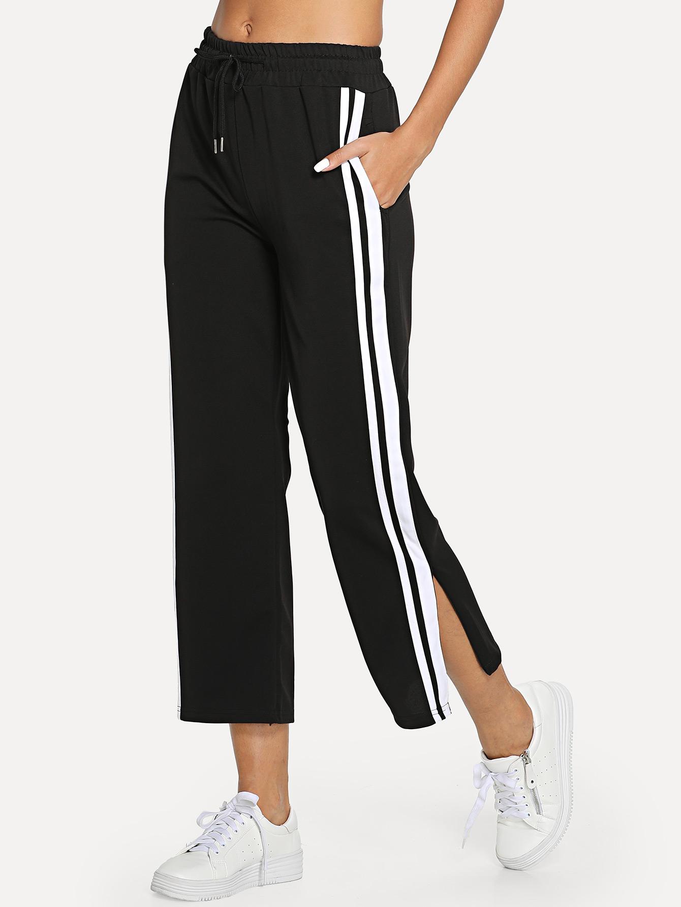 Купить Полосатые контрастные брюки, Giulia, SheIn