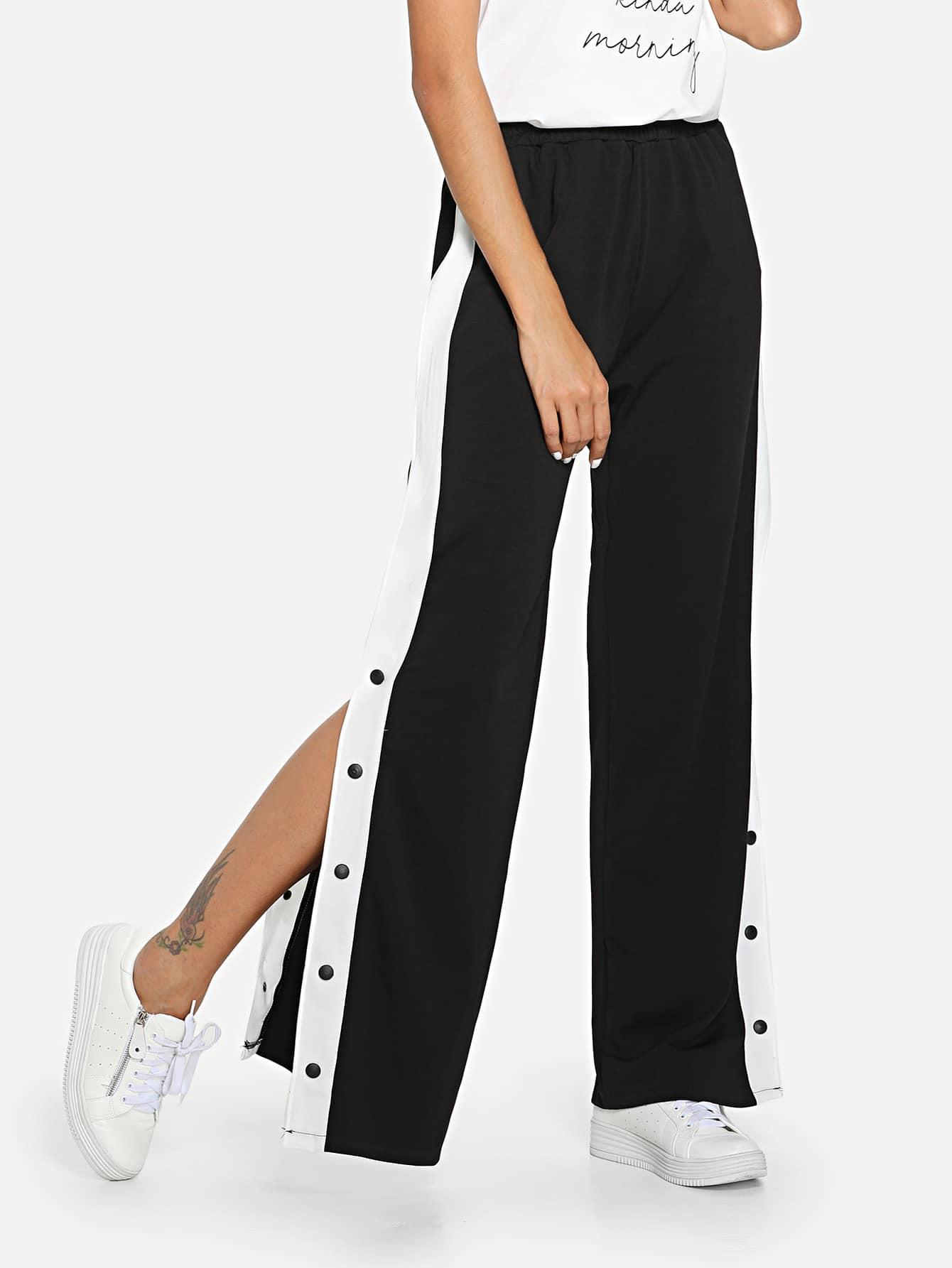 Купить Свободные полосатые брюки с кнопкой, Giulia, SheIn