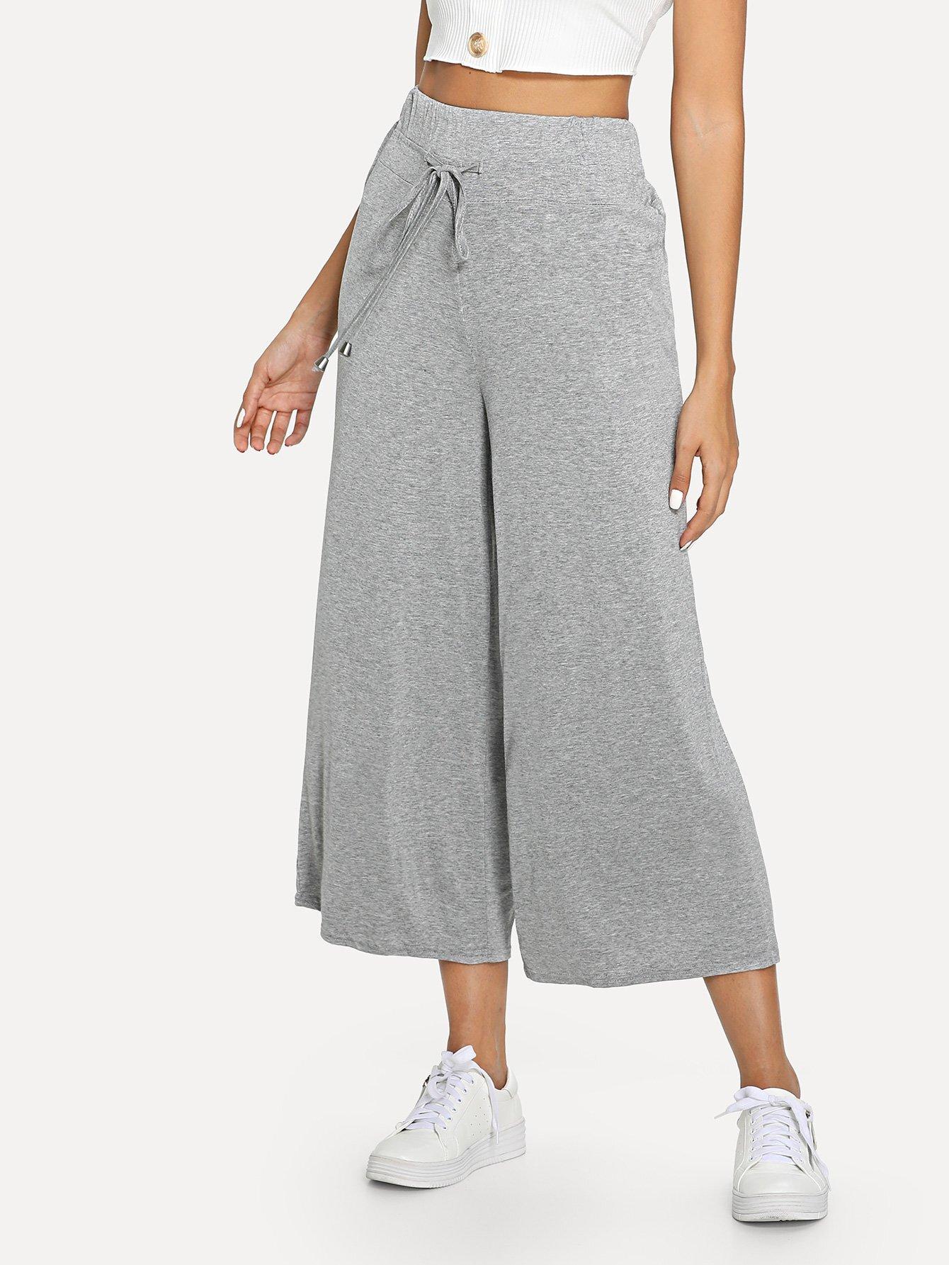 Drawstring Wide Leg Pants floral wide leg drawstring pants