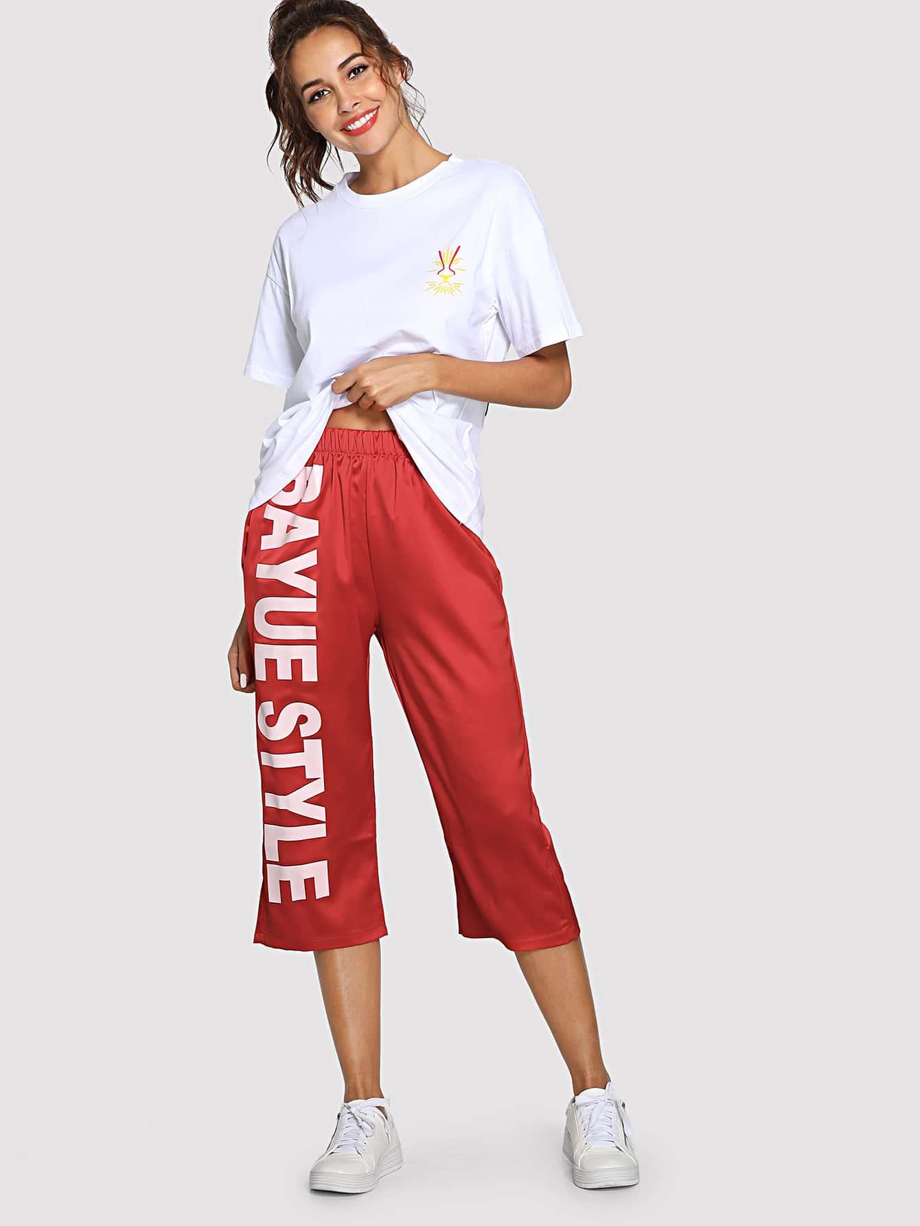Купить Tiger Print T-Shirt & Loose Letter Print Pants, Giulia, SheIn