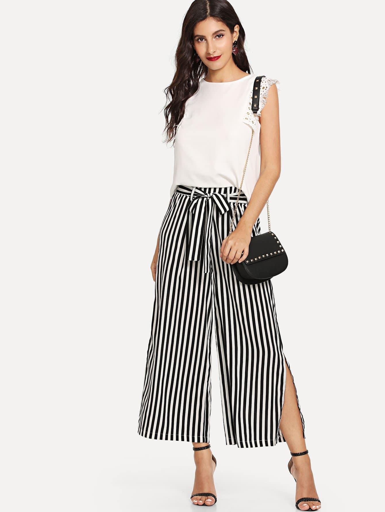 Fringe Sleeve Top & Wide Leg Stripe Pants cropped wide sleeve top