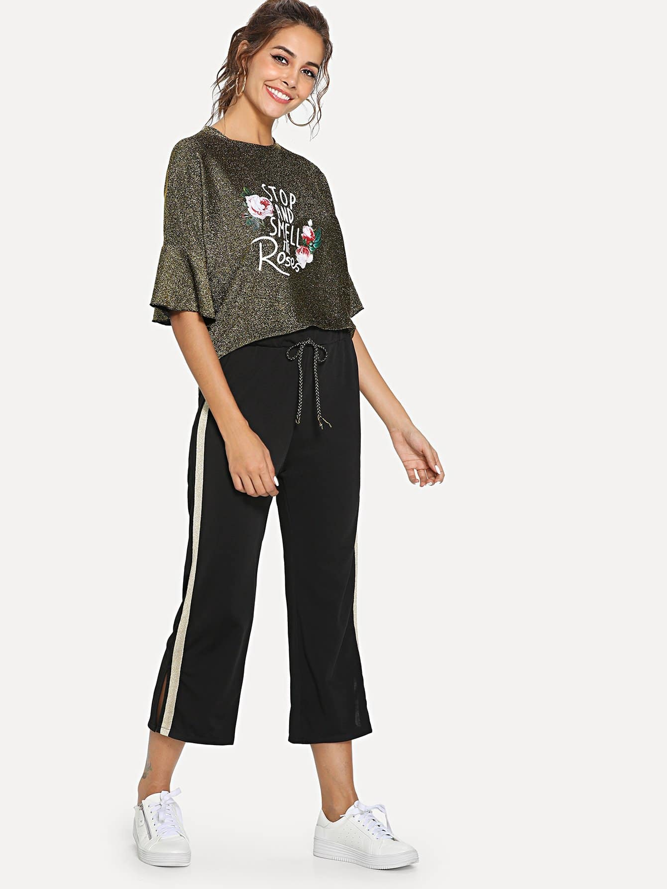Letter Print Ruffle Top & Stripe Contrast Pants stripe letter print long sleeve top