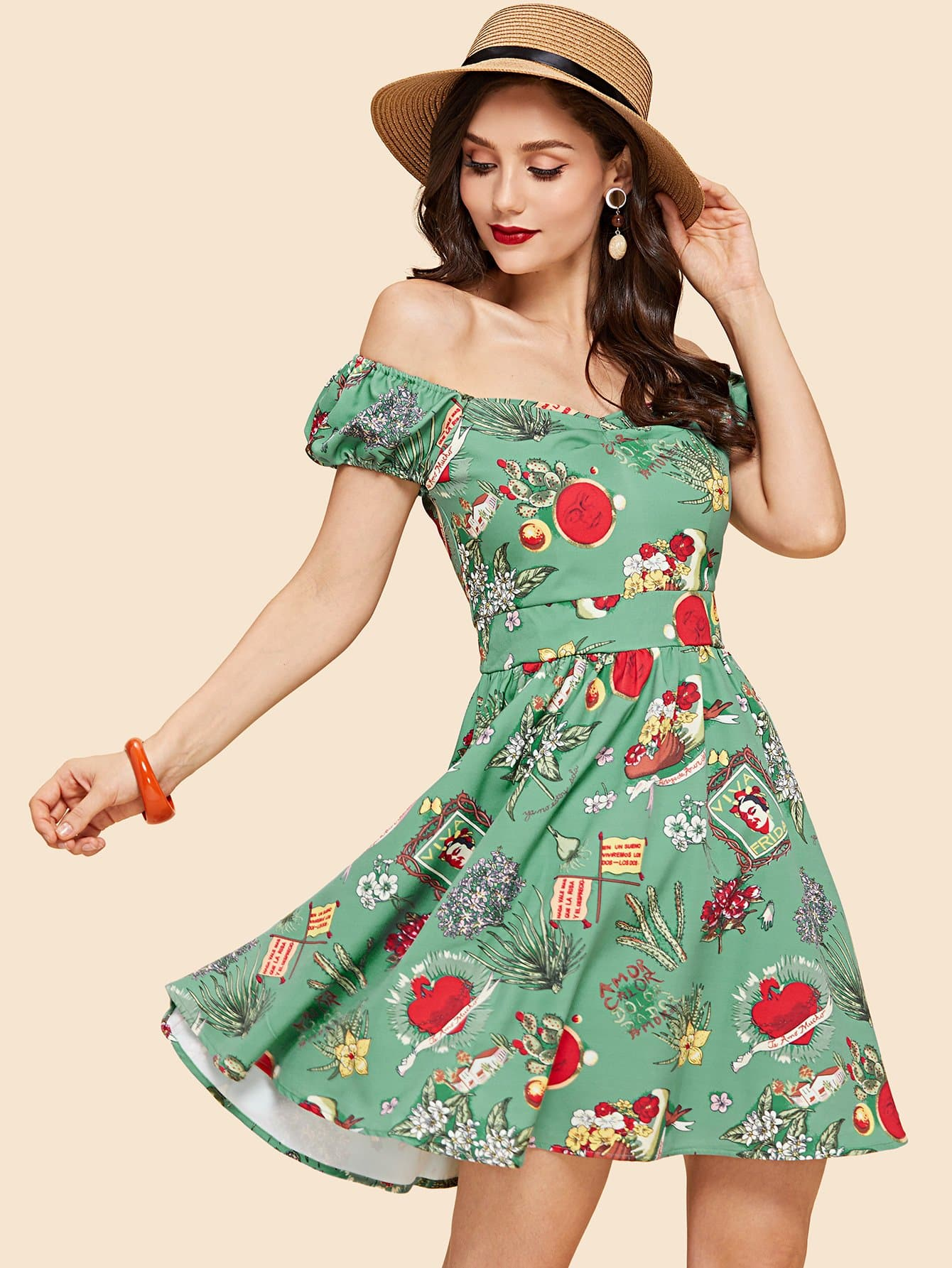 Buttoned Ruched Sweetheart Fit and Flare Dress lace overlay fit and flare dress