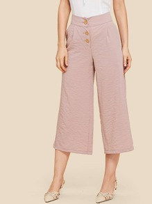 Button Fly Wide Leg Pants