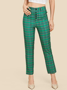 Button Fly Plaid Pants