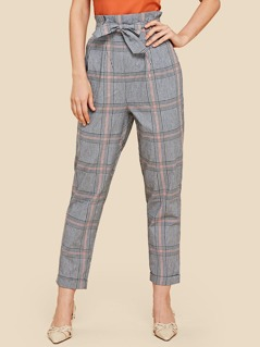 Self Belted Plaid Pants