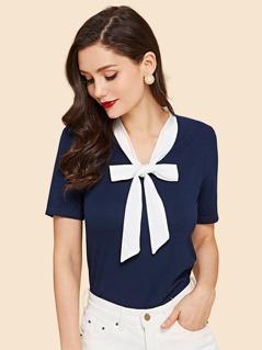 Contrast Tie Neck T-shirt