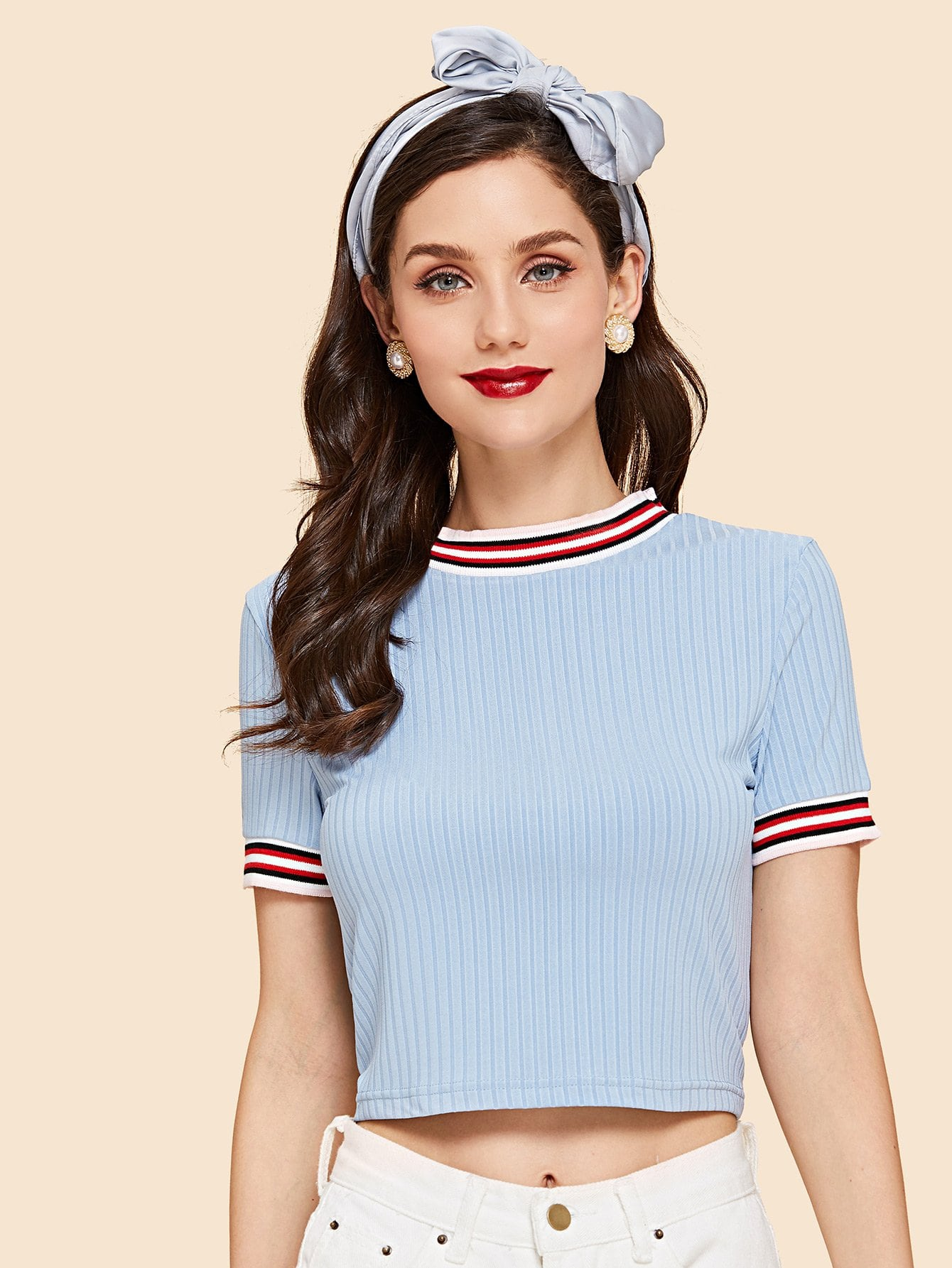 Striped Trim Rib Knit T-shirt contrast frill trim rib knit t shirt