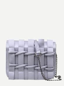 Weave Front Flap Chain Bag