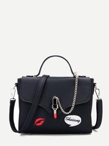 Letter & Lip Embroidered PU Shoulder Bag