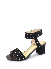 Studded Detail Ankle Strap Heeled Sandals