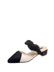 Bow Tie Low Heel Mules