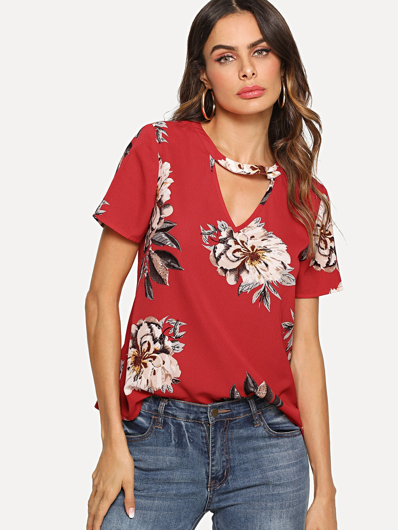 V Cut Neck Keyhole Back Floral Top cut and sew keyhole back top