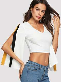 Contrast Tape Split Sleeve Crop Top