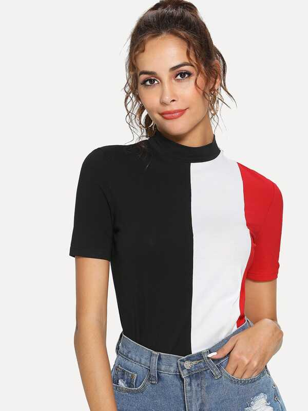 Mock Neck Cut And Sew Tee by Shein