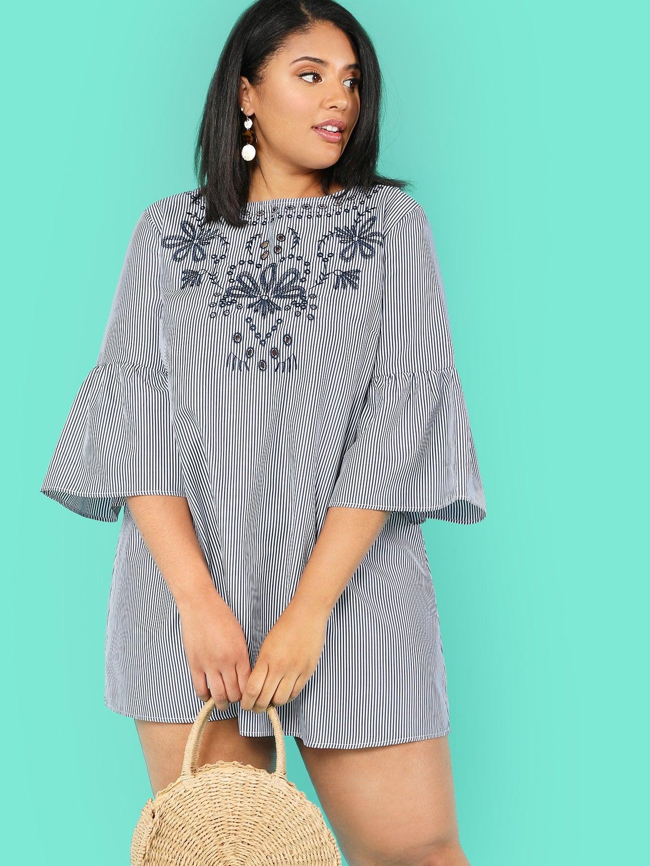 Flounce Sleeve Embroidery Pinstripe Dress flounce sleeve eyelet embroidery dress
