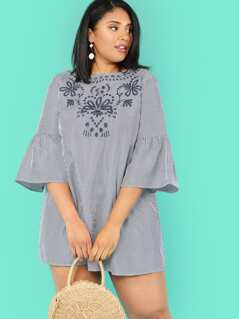 Plus Flounce Sleeve Embroidery Pinstripe Dress