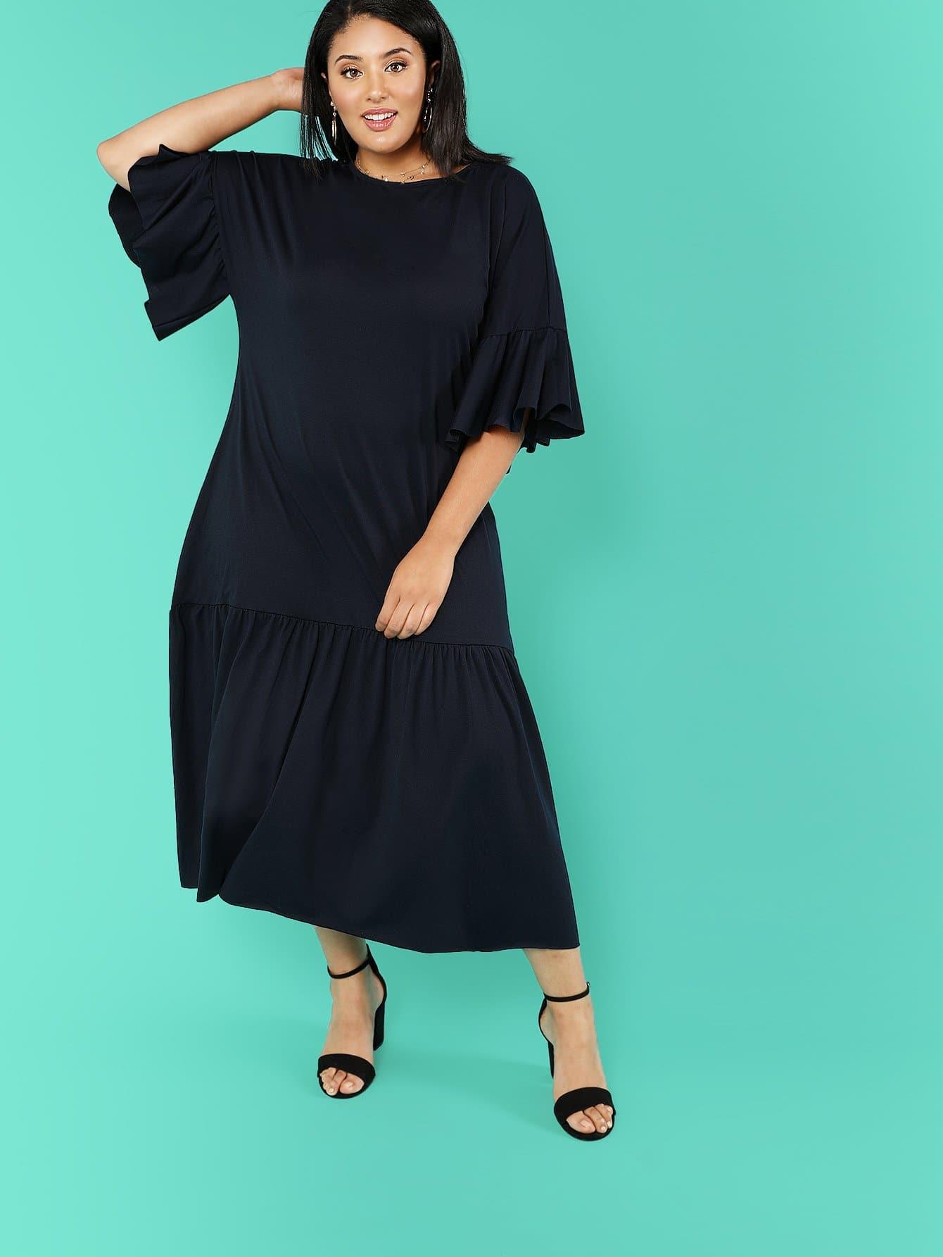 Solid Ruffle Trim Oversized Dress one side ruffle trim solid dress
