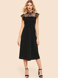 Mock Neck Dot Mesh Yoke Fit and Flare Dress