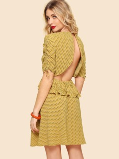 Drawstring Sleeve Open Back Ruffle Dress